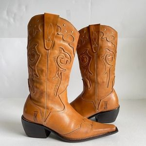 JK Cowboy Boots Snip Toe Leather Western Boots